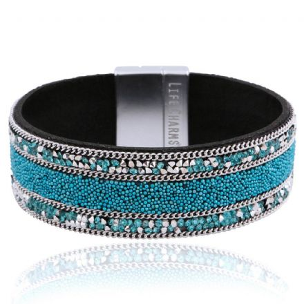 Blue and Silver Crystal Colour Wrap Bracelet